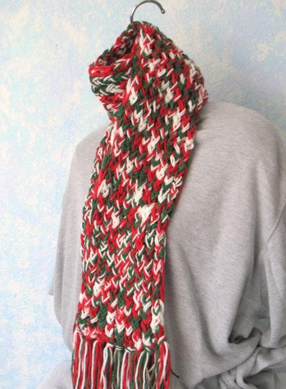 Winter scarf, handknit, red,white, green, item 2V6