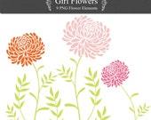 Girl Flower Digital Clip Art floral PNG for invites, scrapbooking, card making Instant Download