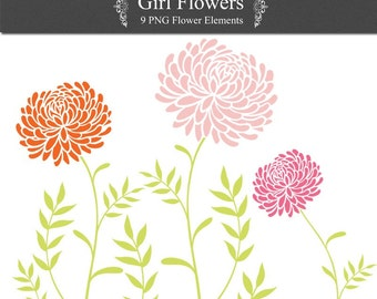 Girl Flower Digital Clip Art floral PNG for invites, scrapbooking, card making Instant Download