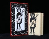 guitar cat rubber stamp