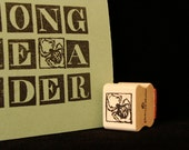 tiny spider rubber stamp