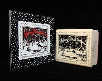 """Christmas rubber stamp  """"Christmas postage"""""""