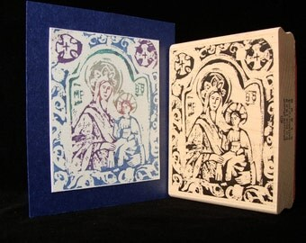 """picture show rubber stamp, """"madonna and child""""   (large)"""