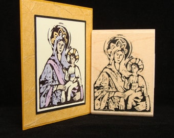 Christmas rubber stamp, madonna and child  (smaller)