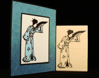geisha with fan rubber stamp