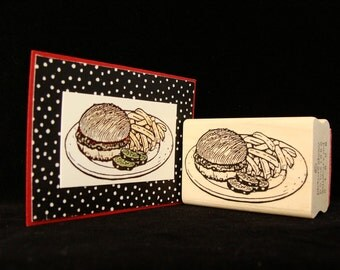 hamburger and fries rubber stamp
