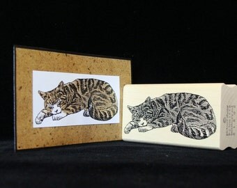 sleeping cat rubber stamp