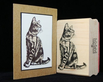 "cat rubber stamp ""sitting tabby"""
