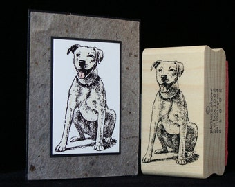 sitting dog rubber stamp