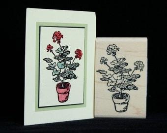 """flower rubber stamp """"geranium"""""""