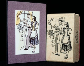doing the dishes rubber stamp