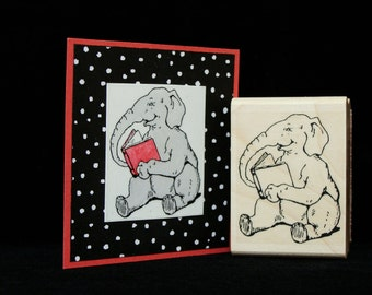 elephant with a book rubber stamp