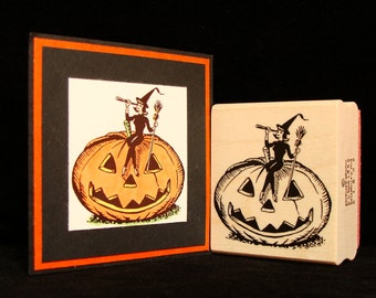 """halloween rubber stamp  """"bewitched"""""""