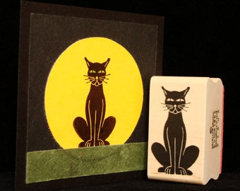 sitting black cat rubber stamp
