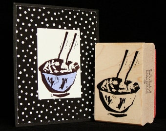 pictureshow rubber stamp, rice bowl