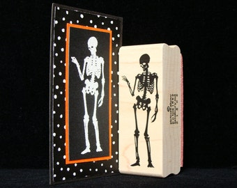 standing skeleton rubber stamp