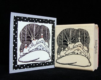 winter house rubber stamp