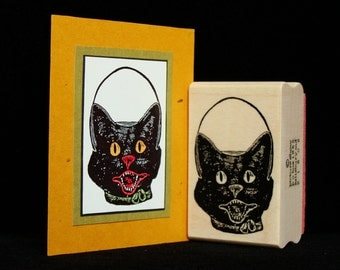 """halloween rubber stamp  """"cat container"""""""