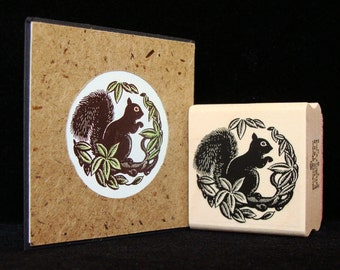 squirrel round rubber stamp