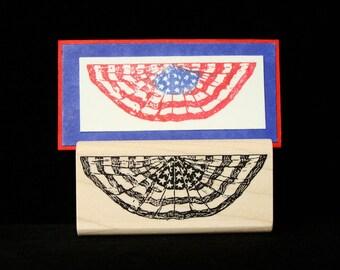 patriotic flag bunting rubber stamp