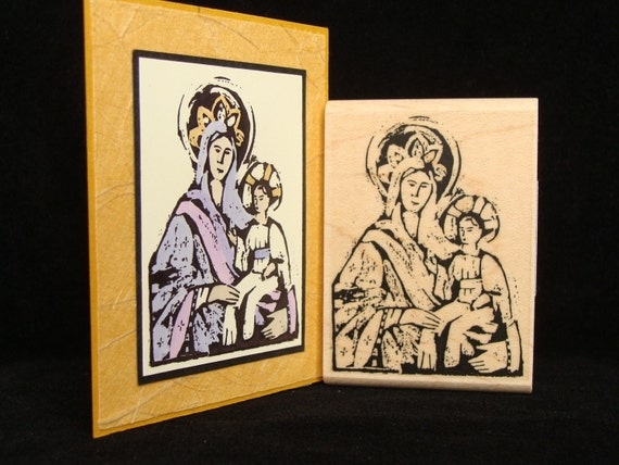 madonna and child rubber stamp (small)