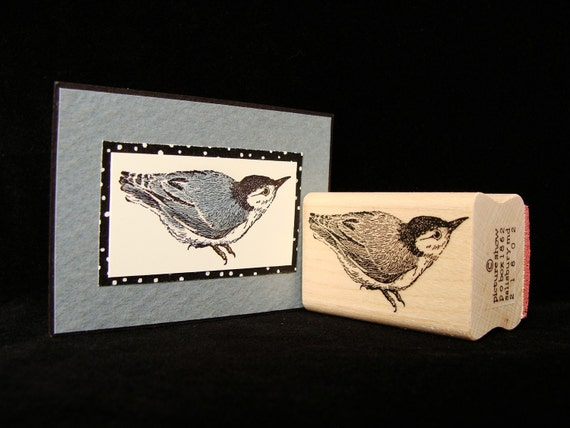 "bird rubber stamp  ""nuthatch"""