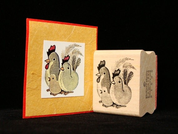 chicken family rubber stamp
