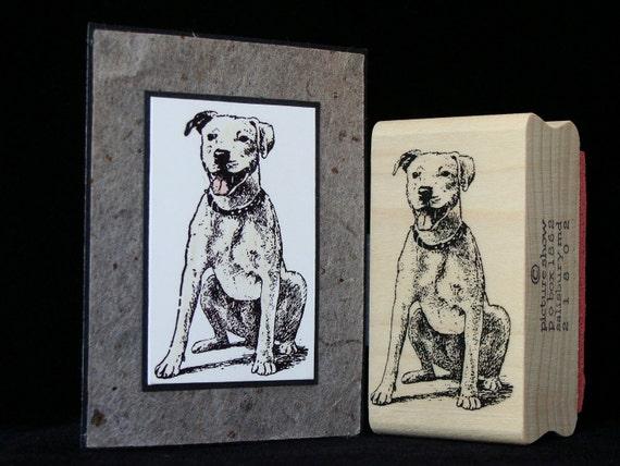 sitting dog rubber stamp