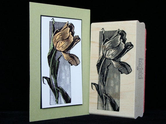 tulip rubber stamp  (large)