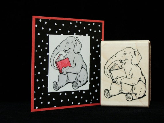 reading elephant rubber stamp