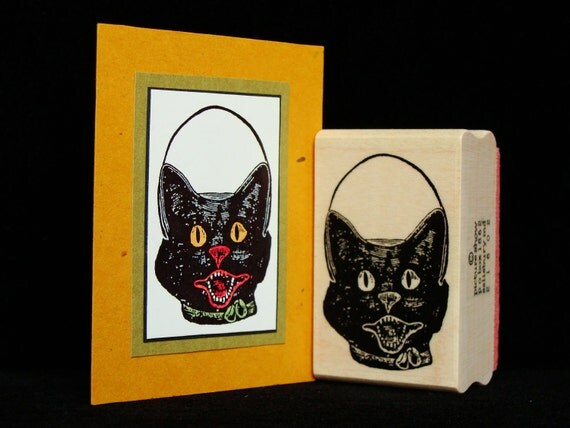 "halloween rubber stamp  ""cat container"""