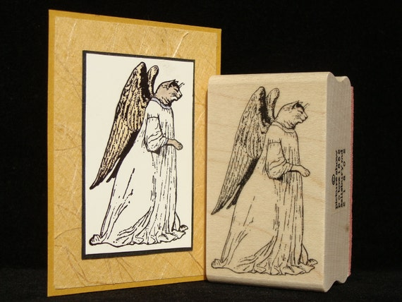 cat angel rubber stamp