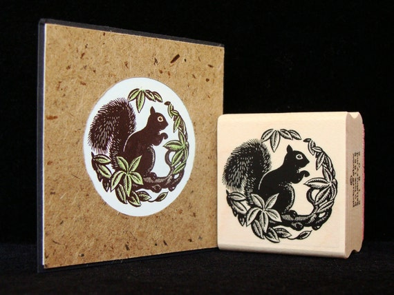 squirrel rubber stamp