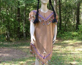 A197  Cute American Indian Girl Beaded Halloween Costume  Girls Sizes  Made to Order