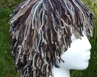 """B043     Yarn Wig   Awesome """"Singed Earth"""" Short Shag Yarn Wig   Ready To Ship"""