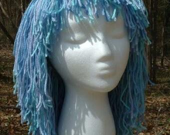 """B045      Yarn Wig   Awesome """"Glacier Crystal"""" Shoulder Length Medium Shag Yarn Wig  Ready To Ship"""