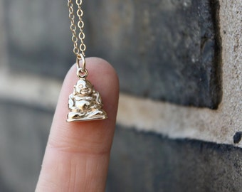 Laughing Buddha Necklace - Yoga Jewelry . Bronze Happy Buddha Charm on 14K Gold-Filled Chain . Outdoor & Sportsman . Gift Ideas for Her