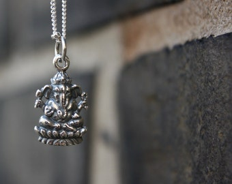 Silver Ganesh Necklace - Sterling Silver Ganesh Pendant . Yoga Jewelry . Remover of Obstacles