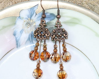 Copper and Crystal Chandelier Earrings - long bohemian boho hippie chic indie jewelry