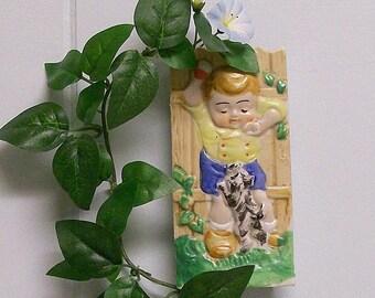Wall Pocket / Hanging Vase / Ceramic Planter Little Boy with Dog