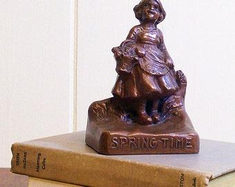 Vintage Bookend Little Girl Spring Time
