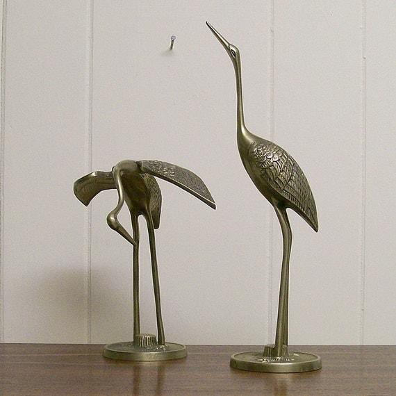 Two Graceful Vintage Brass Egrets
