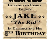 """Reserved for 818vintagetreasures - Wanted Theme Birthday Party Invitation - 5"""" x 7"""" - 15 Invites with Envelopes"""