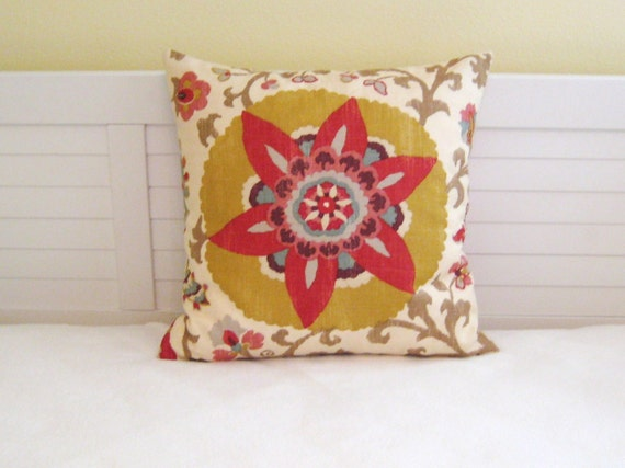 "Braemore Silsila in Curry Suzani Design 20""x20"" Pillow Cover"
