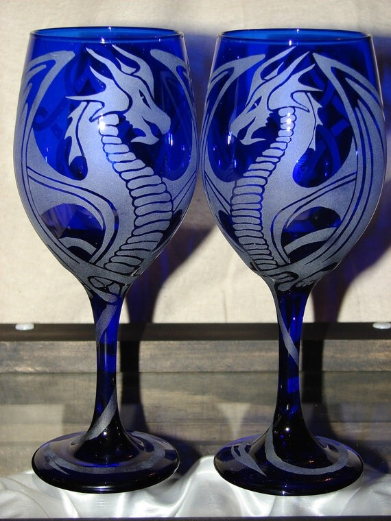 Hand Etched Cobalt Blue Dragon Wine By Dragonflydesignsbykb