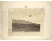 Digital Print, Death Valley, UFO art, National Park, flying saucer, geekery, alternate histories, 1800s