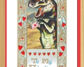 Love Card, Funny Cards, Valentines Day, Valentine Card, Vintage Cards, Scfi art, Dinosaur, Geekery, tyrannosaurus rex, Alternate Histories