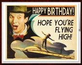 Birthday Card, b movie poster, Birthday Cards, 1930s, Scifi art, Retro Card, airplane art, Birthday, alternate histories, geekery