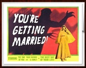 Wedding Card, B Movie Poster, Marriage Card, Scifi art, Retro Card, Monster Art, Wedding, alternate histories, geekery