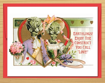Love Card, Funny Cards, Valentines Day, Valentine Card, Geek Love, Vintage Cards, Alien art, UFO art, Geekery, movies, Alternate Histories